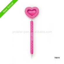 high quality, 2014 new design wooden ballpen with heart on the top as craft gift is popular with kids