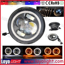 """7"""" headlight for jeep JK wrangler H4 H7 canbus function dual color car led headlight with angel eyes"""