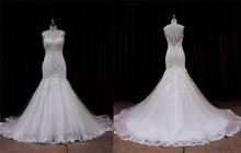 Romantic sparkle leaf silk georgette with lace wedding dress