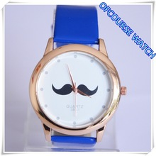 father chirstmas mustache face sky pu leather lady's casual watch