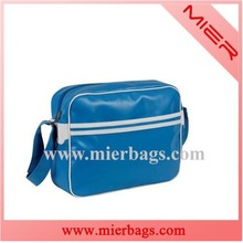 Sky blue PU leather messenger bag teens fashion school sports messenger bag