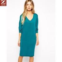 deep v-neck long sleeve long formal dress low price