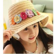 2014 new fashion South Korea handmade lace flower big brim hat Children's hat topi beach hat