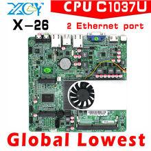 OEM factory price!! celeron dual core 2 lan motherboard 1037u 1.8Ghz mini itx motherbaord fan embedded no noise useful