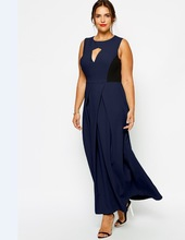 Women Plus Size Dresses CURVE Exclusive Maxi Dress with Pleat Front And Cut Out for Wholesale Haoduoyi