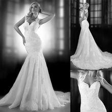vestidos de novia casamento Romantic Fashion Keyhole Back Brush Train Tulle Lace Appliques Mermaid Cheap Wedding Dress
