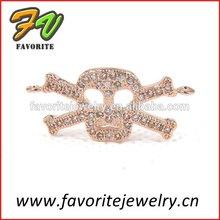 skull rose gold pave setting zircon pendants