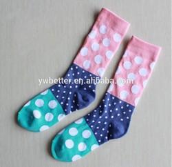 women's multi colored dot and strip designed fashion socks