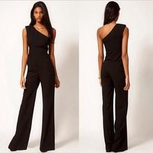 M8213 women jumpsuit Palazzo pants romper one shoulder black clubwear party