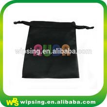 Black Organza Satin Drawstring Gift Bag With Logo