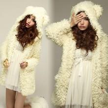 Women's Wool Hoodie Rabbit-shape Coat Jacket 6322#