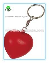 soft foam 4x3cm PU stress heart keyring/soft toy PU heart keyring/heart shape PU keyring