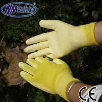 NMSAFETY 13 gauge yellow nylon liner farming work pu gloves