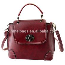 2015 New Direction Tmall Online PU Leather Vintage Burgundy Women's Handbag with Lock Catch Closure