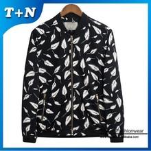 OEM black white striped cut and sew sublimation denim jacket men