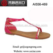 latest design fashion simple woman golden metal shoelace flat leather sandals