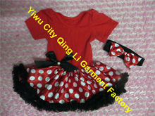 2014 Newest Design For Red And White Dots With Headband Of Bow