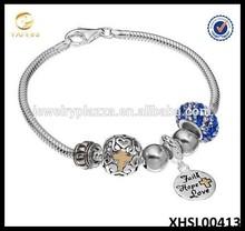 Individuality Beads 14k Gold Over Silver Snake Chain Bracelet Faith, Hope, Love Charm & Bead Set