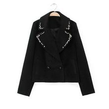 MS81148B new fashion beaded short women woolen coat