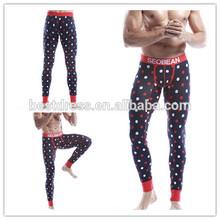 Wholesale checkout instyles Men's high waist strechy thermal Long John plus size plain underwear male Pajama Polka Dot