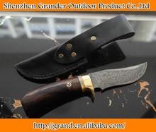 Pure hand made fruit knife damascus steel gift knife cowhide sheath 4321