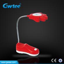 Adjustable mini shoe battery led table lamps & reading lamps