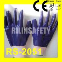 RILIN SAFETY safety gloves chemical resistant,Heavy duty NBR working glove CE certificate EN420 EN388