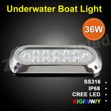 12v 36w underwater led ocean red/blue/green rechargeble waterproof led light for boats