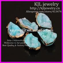 KJL-BD5440 Beautiful Druzy Pendant Nature Geode Quartz Druzy Pendants,Gold Plated Edged Crystal Quartz Drusy Gems Agate Pendant
