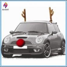Car Reindeer Costume Dress Up, Antler Kit, Christmas Car Antlers With Nose Deluxe Be Jolly