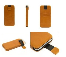 Hot sell fashion oil waxed leather universal phone case with card slots