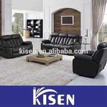 Full leather living room furniture corner recliner sofa