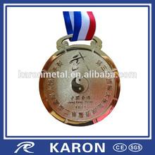 fashionable sandblast gold engraving medal for HK