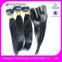 3 part Silky straight malaysian human hair light brown lace closure with bundles natural looking 4bundles/lot
