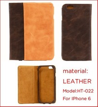 Hot sell fashion oil waxed leather cell phone case with card slots