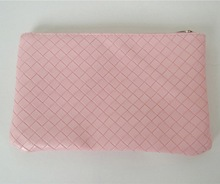 Promotional Simple Travel weave knitting pu Cosmetic pouch