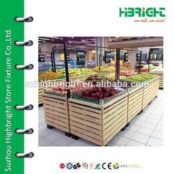 supermarket wooden fruit and vegetable display stands
