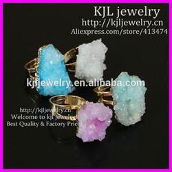 KJL-BD5443 Mix Nature Crystal Quartz Drusy Finger Gems Druzy Ring, Freedom shape Gold Plated Adjustable Ring Druzy Geode Ring