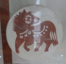 horse picture polished round water jet marble