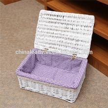 Handicraft Wicker Rattan Basket with Lid for Storage