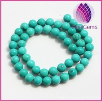 8mm dyed green turquoise smooth round beads