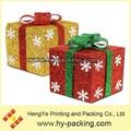 Material de papel eco- ambiente reciclable característica de navidad ornamento oficios, decorativos de navidad copo de nieve cajas de regalo con la cinta