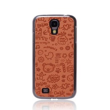 For Samsung Galaxy S4 i9500 Cute Cartoon Leather Skin Case with Chrome Side