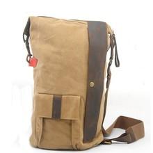 Men's canvas PU Leather crossbody bag barrel shaped bag