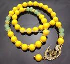 DB198 Yellow Jade Gold Plated Allah Islamic Muslim Allah Prayer Beads Tasbih