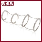 Fashion Sterling Silver Jewelry ,Thin Four Finger Chain Ring ,Knuckle Ring Set