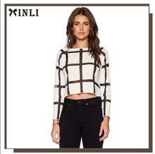 Fashion Contrasting Mesh Stripes Throughout Ladies Blouse Open Air Crop Tops
