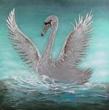 Original modern canvas Elegant Swan Animal Oil Painting