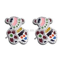 stainless steel bear shaped enamel colorful stud earrings jewelry
