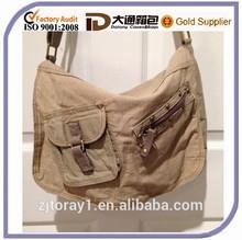Beige Girls Cotton School Book/Shoulder Bag With Long Strap